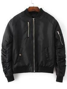Black Zipper Up Quilted Flight Jacket