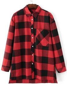 Red Plaid Dip Hem Blouse With Pocket