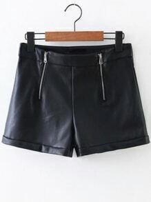 Black Zipper Detail PU Shorts