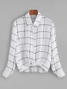 White Grid Knotted Button Blouse