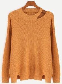 Khaki Cut Out Neck Slit Side Sweater