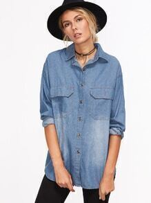 Blue Drop Shoulder Denim Shirt