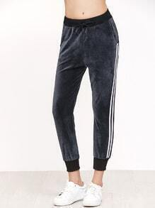 Dark Grey Striped Side Drawstring Pants