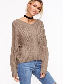 Coffee Drop Shoulder Seam Cable Knit Sweater