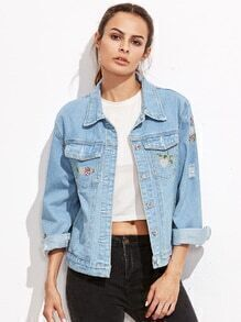 Blue Ripped Embroidery Denim Jacket