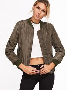 Contrast Ribbed Trim Zipper Jacket