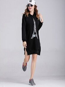 Black Sequin Slit Side Hooded Sweatshirt Dress