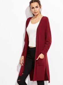 Burgundy Open Front Split Side Long Cardigan With Pockets