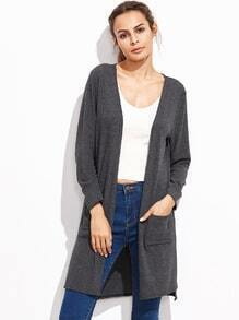 Grey Open Front Split Side Long Cardigan With Pockets