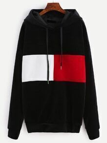 Black Color Block Drawstring Hooded Velvet Sweatshirt