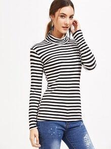 gestreifte T-shirt mit Hohem Kragen -schwarz und weiß