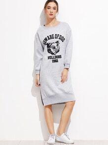 Grey Printed Split Side Sweatshirt Dress