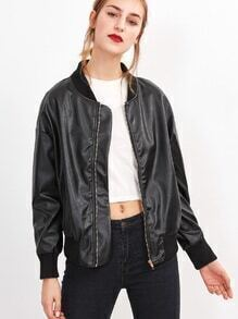 Contrast Ribbed Trim Drop Shoulder PU Jacket
