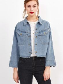 Blue Raglan Sleeve Crop Denim Jacket