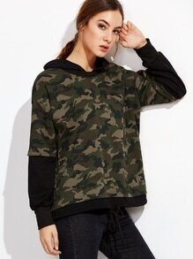 Camo Print Drawstring 2 In 1 Hooded Sweatshirt
