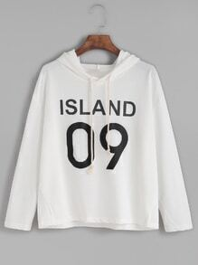 White Letter Print Slit Side Hooded T-shirt