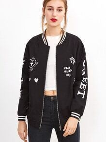 Contrast Striped Trim Letter Print Jacket