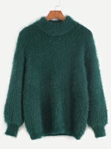 Dark Green Drop Shoulder Mohair Sweater