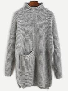 Grey Drop Shoulder Pocket Long Sweater