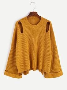 Yellow Cut Out Slit Side Cuffed Sweater