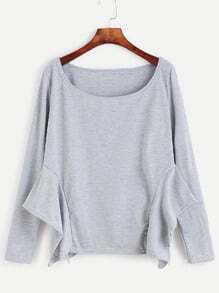 Pale Grey Asymmetric Hem T-shirt