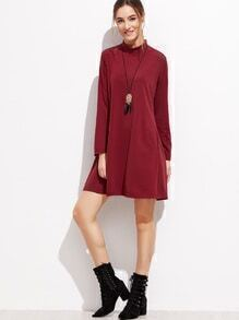 Burgundy Mock Neck Zipper Back Shift Dress