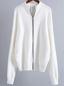 White Drop Shoulder Zipper Up Sweater Coat