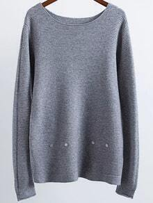 Grey Ribbed Button Detail Sweater