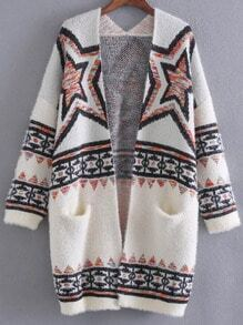 White Star Pattern Drop Shoulder Sweater Coat With Pocket