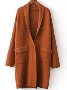 Khaki Shawl Collar Single Button Sweater Coat