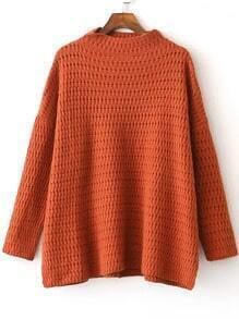 Khaki Hollow Out Side Slit Sweater
