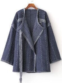 Blue Draped Collar Loose Sweater Coat