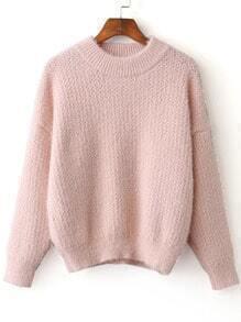 Pink Ribbed Trim Crew Neck Sweater