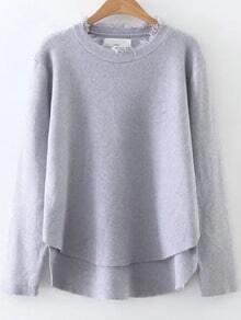 Grey Fringe Trim Dip Hem Knitwear