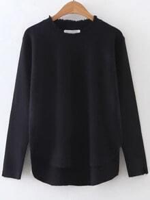 Black Fringe Trim Dip Hem Knitwear