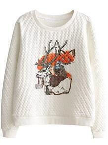 White Animal Print Round Neck Sweatshirt