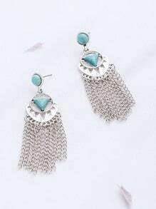 Silver Plated Turquoise Chain Fringe Drop Earrings
