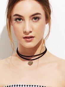 Black Double Layer Heart Pendant Choker Necklace