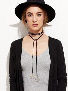 Black Hollow Star Pendant Wrap Choker Necklace