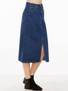 Blue Slit Front A Line Denim Skirt
