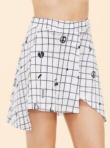 White Printed Grid Asymmetric Skirt