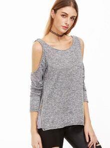 Grey Open Shoulder Zip Side T-shirt
