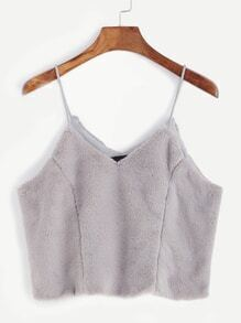 Light Grey Fuzzy Crop Cami Top