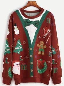 Christmas Print Long Sleeve Sweatshirt