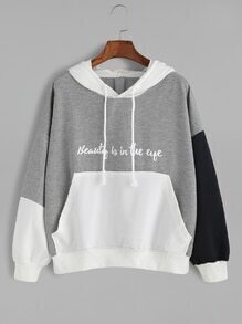 Color Block Letter Print Drop Shoulder Hooded Sweatshirt