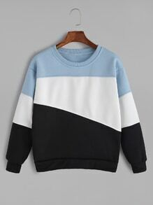 Pale Blue Contrast Casual Sweatshirt