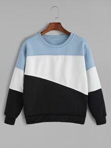 Pale Blue Contrast Casual Sweatshirt