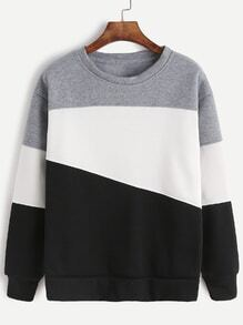 Light Grey Contrast Casual Sweatshirt