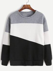 Light Grey Contrast Casual Sweatshirt