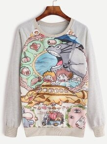 Pale Grey Cartoon Print Raglan Sleeve Sweatshirt